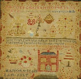 Silk On Linen Needlework Sampler