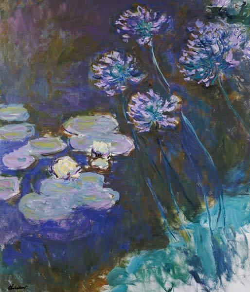 Water Lilies Giverny #5 ( and Agapanthus)