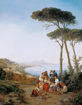 Italian society over the bay of Naples