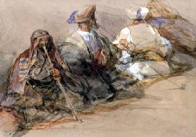 Group of Arab figures, two smoking a cubuk