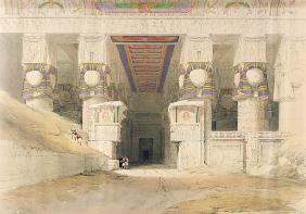 Facade of the Temple of Hathor, Dendarah, from ''Egypt and Nubia''; engraved by Louis Haghe (1806-85