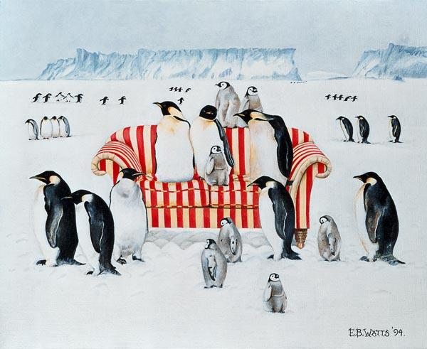 Penguins on a red and white sofa, 1994 (acrylic)