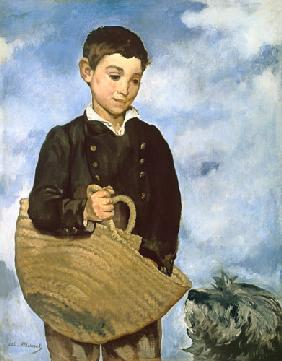 Boy with basket and dog.