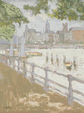 View of the Binnenalster, 1913 (gouache on card)