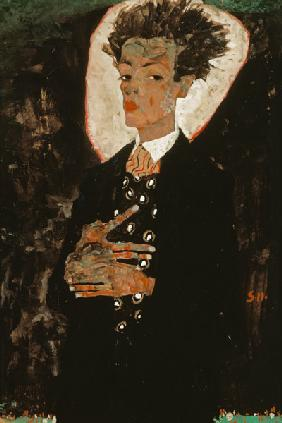 Self-portrait with peacock waistcoat, stationary.
