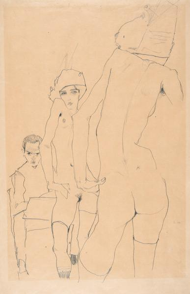 Schiele with Nude Model before the Mirror