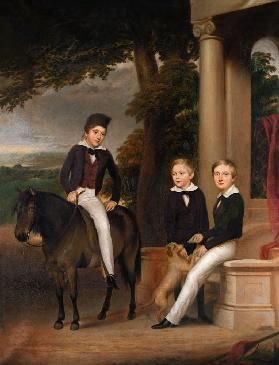 Portrait of John, George and Thomas Gladstone with their favourite pets