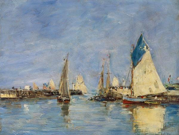 Sailing boats in the port of Trouville