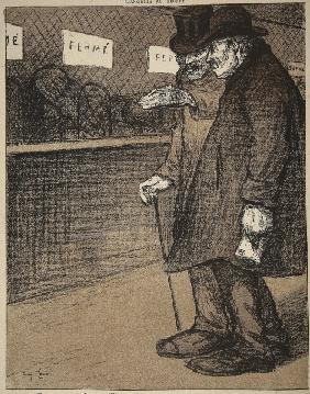 Two elderly gentlemen walking past closed counters, illustration from ''L''assiette au Beurre: Les F