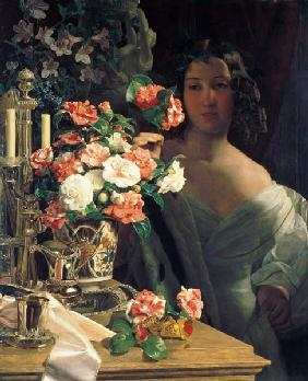 A young lady at the finery table.