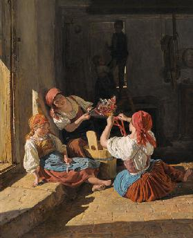 Children decorating a Conscript's hat