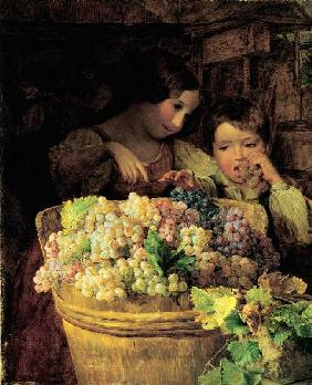 Two children at a vat filled with grapes