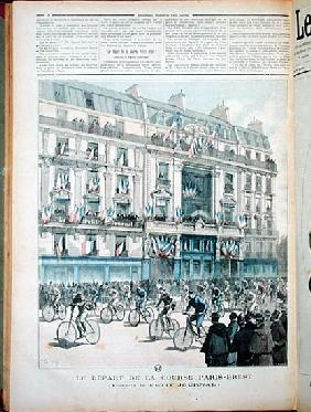 The start of the Paris-Brest bicycle race in front of the offices of ''Le Petit Journal'', illustrat