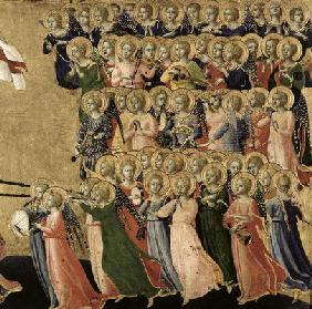 Christ Glorified in the Court of Heaven, detail of musical angels from the right hand side, 1419-35