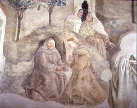 The Reform of the Carmelite Rule, detail of four Carmelite friars