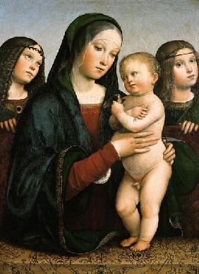 Maria with the child and two angels