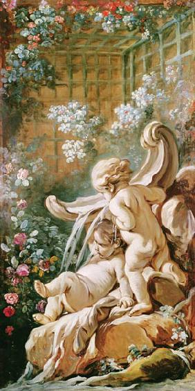 Two Cupids by a Basin, from the salon of Gilles Demarteau