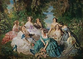 Empress Eugenie (1826-1920) Surrounded by her Ladies-in-Waiting