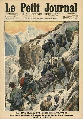 A moving descent down the Mont Blanc, illustration from ''Le Petit Journal'', supplement illustre, 1
