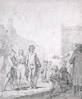 A Slave Market (pencil and grey wash on paper)