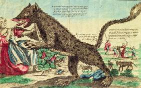 Attacks by the beast of Gevaudan in 1764 (colour engraving)