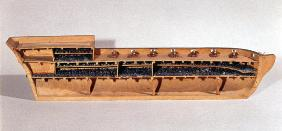 Cross-section of a model of a slave ship, late 18th century (wood)