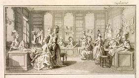 Fashion shop, from the 'Encyclopedia' by Denis Diderot (1713-84), published c.1770 (engraving)