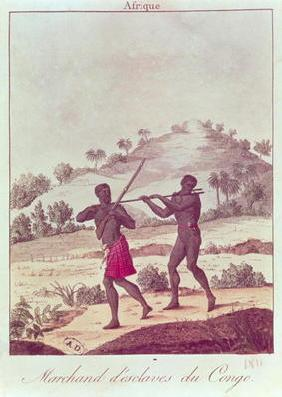 Slave Trader in the Congo (coloured engraving)