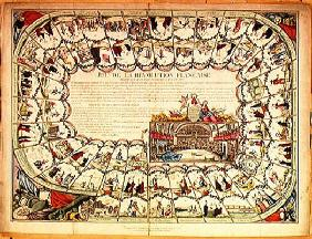 Snakes and ladders board based on the French Revolution, 1791 (coloured engraving)