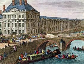View of the River Seine at Port Royal (coloured engraving) (detail)