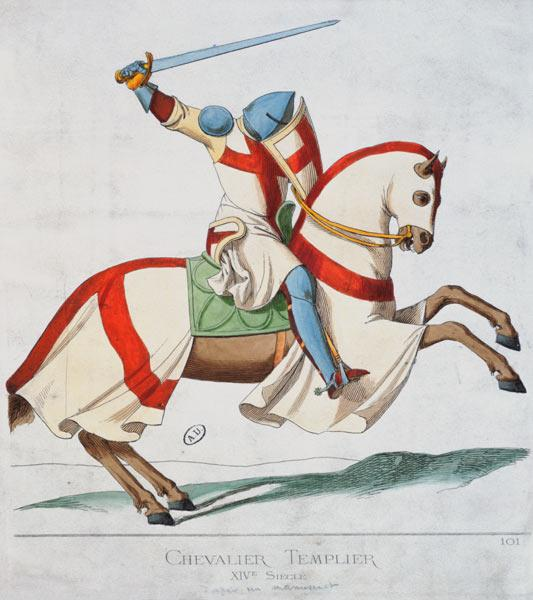 Illustration of a Knight Templar, after a 14th century manuscript (coloured engraving)