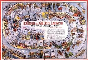 'Le Circuit des Galeries Lafayette': Game of Snakes and Ladders before 1914 (colour engraving)