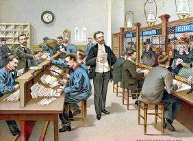 Sorting the Post in a Parisian Post Office, illustration from a Post Office calendar, 1904 (colour l