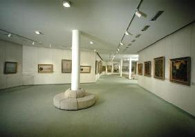 View of the basement exhibiting works by Claude Monet (1840-1926) (photo)