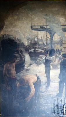 Workers unloading coal from a barge, early twentieth century (oil on canvas)