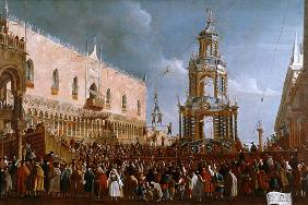 The Festival of Giovedi Grasso in the Piazzetta of San Marco, Venice