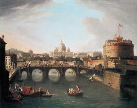 A View of Rome with the Bridge and Castel St. Angelo by the Tiber