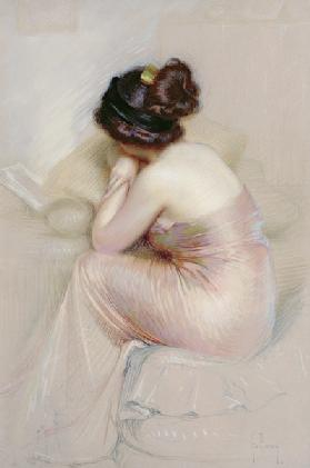 Study of Young Woman in a Satin Evening Dress