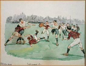 The Month of December: Rugby (pen & ink and w/c on paper)