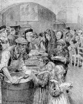 Free Meals for Londons Poorest Citizens: The Scene at a Daily Graphic Soup Kitchen, 1910 (pencil on