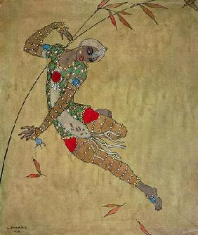 Nijinsky (1890-1950) in the role of the negro slave in the ballet 'Scheherazade' by Rimski-Korsakov