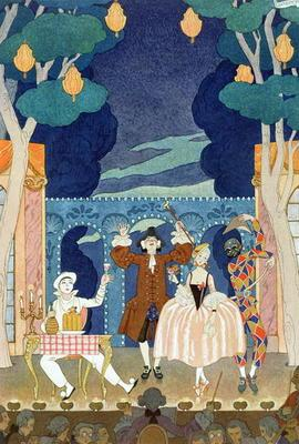 Pantomime Stage, illustration for 'Fetes Galantes' by Paul Verlaine (1844-96) 1924 (pochoir print)