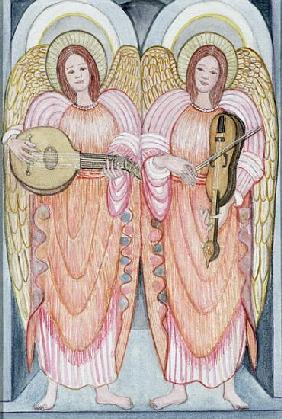 Two angels playing instruments, 1995 (w/c)