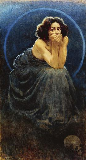 The Silence, 1900, painting by Giorgio Kienerk (1869-1948), part of the Human enigma triptych, oil o