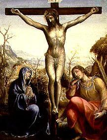 Crucified Jesus with Maria and Johannes.