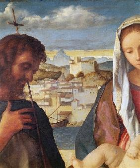 Madonna and Child with St.John the Baptist and a Saint, detail of the background waterside city, c.1