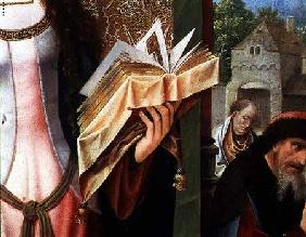 St. Catherine and the Philosophers, detail of the prayer book