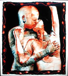 The Kiss, 1987 (w/c & acrylic on paper)