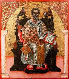 St. Nicholas enthroned, icon, from Thessalonica