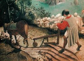 Landscape with the Fall of Icarus, detail of a man ploughing